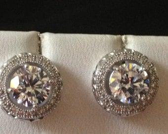 Halo Stud Earrings -cubic zirconia in Sterling Silver