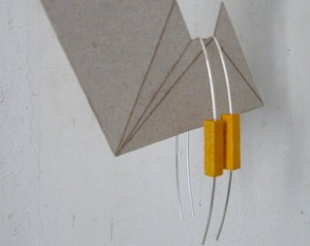 Very light and minimalist sterling silver earrings  - with yellow wood