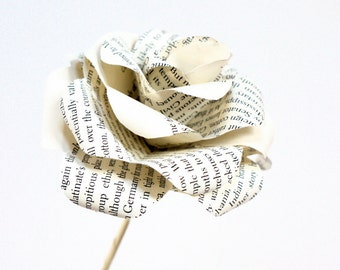 Book Rose,  vintage book page paper rose, upcycled paper decoration, paper flower