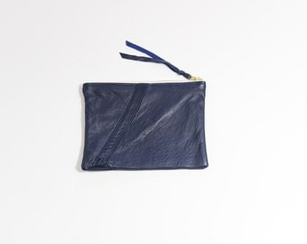 "Navy Blue Leather Zipper Pouch / 8"" Repurposed Leather Pouch"