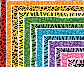 Leopard and Zebra Print Borders / Frames - Set of 28 for Personal and Commercial Use