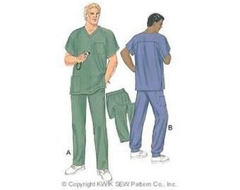 OUT OF PRINT Sewing Pattern - Mens Pattern, Scrubs Pattern, Kwik Sew #K2861