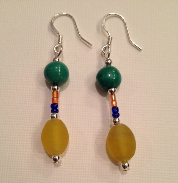 Fiesta Design - Earrings with multi-color glass and gemstone beads