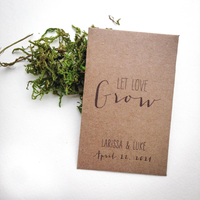 Rustic Personalized Seed Packet Wedding Favors Let Love Grow Mini Kraft Enve