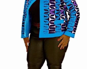 MaMoyo Blue Plus Size Jacket