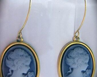 Blue cameo earrings Edwardian Victorian vintage style elegant cameo drop