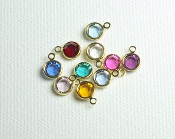 ADD ON Gold or Silver Swarovski crystal channel or link charm, Gold filled evil eye link