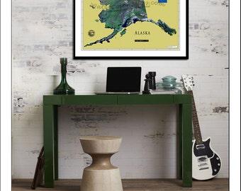 ALASKA MAP, Map of Alaska, Alaska Print, Alaska Art, Alaska, Anchorage, Satellite Map
