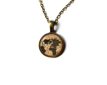 Map pendant Art jewelry Vintage charm Steampunk necklace NW15