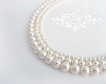 Wedding Jewelry Swarovski Pearl Necklace Triple strands Pure Pearl Necklace Bridal Necklace Bridal Jewelry Bridesmaids Necklace - PURE PEARL