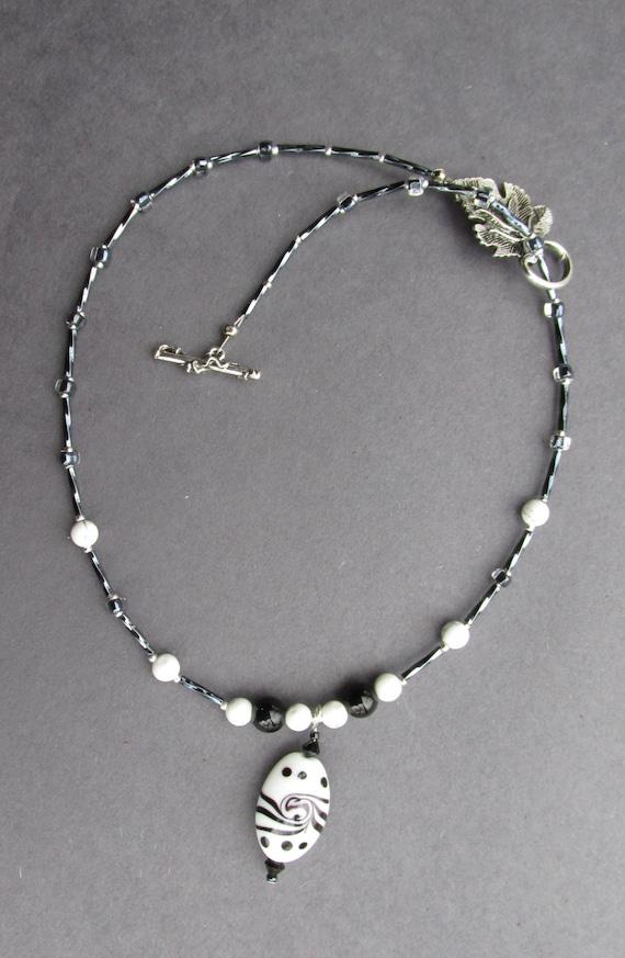 black white beaded necklace porcelain pendant bead black