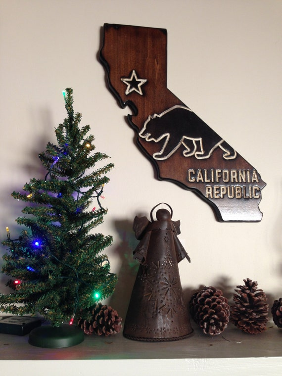 California Wall Decor Ca State Flag With Bear Design And