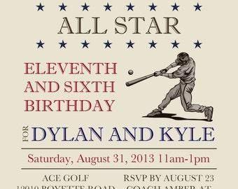 Vintage Baseball Invitation - Digital File