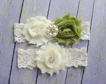Garter Set Olive Wedding Avocado Bridal Ivory Lace