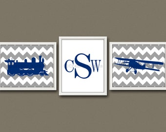8x10 (3) TRANSPORTATION PRINTS - Nursery Art, Nursery Decor, Children's Art - Plane, Train, and Monogram
