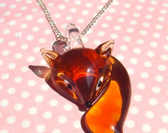 Cute amber glass fox orange pendant necklace
