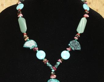 Bears in Moonlight - Statement Necklace - Malachite, Tourmaline, Turquoise, Jade