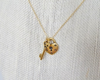 22 Karat Gold Lock and Key Necklace