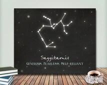 CUSTOM Zodiac Constellation Print,Constellation Art,Chalkboard Print,8x10 Printable Art,Astrology Print,Saggitarius Print Astrological Signs