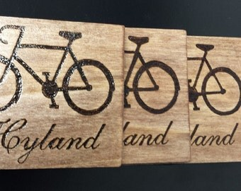 Set of 4 personalized wood burned coasters for the cyclist in your life