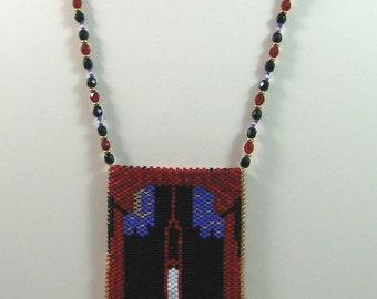 Dracula Vampire Beaded Amulet Bag Necklace or Wall Art