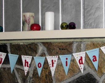 "Paper ""Happy Holidays"" pennant garland in shimmering blue and white"