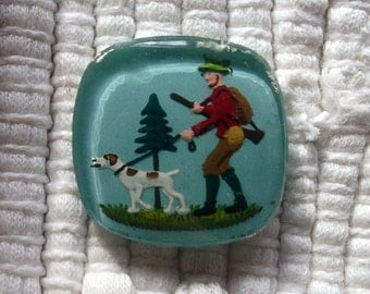 Vintage German Reverse Intaglio Glass Cabochon--Hunter with Dog--20 mm