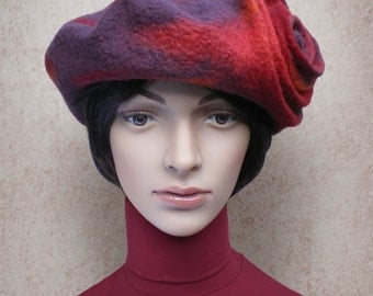 Red Winter Hat Retro Style Beret for Ladies Merino Wool Felt Hat Aubergine Fuchsia Orange Fall Winter Designers Hat