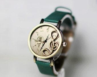 Love music note,Wrist watch, Women watch, Leather Watch ,Birthday gift, Special gift