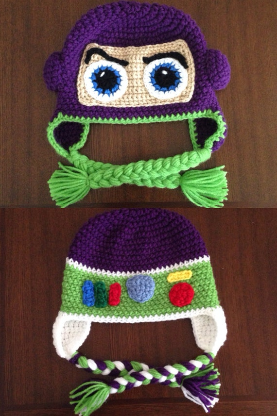 Cartoon Characters Knitting Patterns : Items similar to buzz lightyear inspired crochet hat face