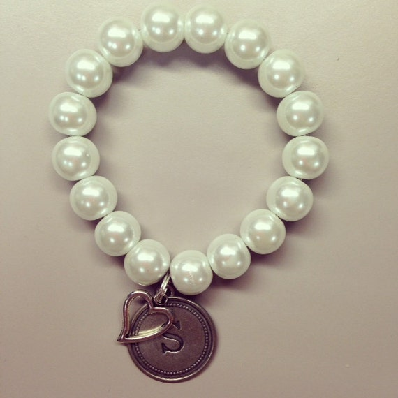 beaded pearl bracelet with initial charm and by