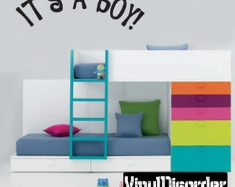 it's a Boy - Vinyl Wall Decal - Wall Quotes - Vinyl Sticker - Ce007ItsaboyviiiET