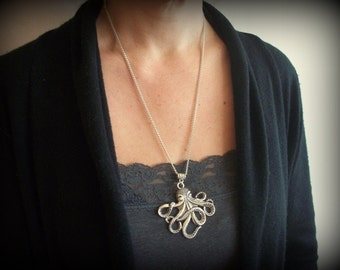 Octopus Kraken Silver large pendant necklace