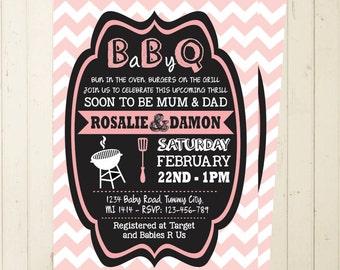 Baby Shower BBQ invitation girl baby shower invite invitation printable chevron invitation digital printable couples shower diaper bbq