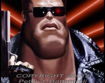 Arnold Schwarzenegger Terminator Poster Caricature Art Print
