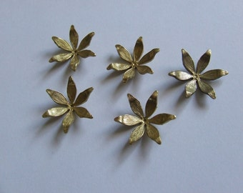 Antique Flower Findings/Stampings; Originals Quality (not repro)  Bead Caps/Charms/Bluebells X 10 Gold Pltd last in stock