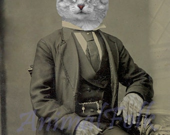 Gentleman KITTEN Art  Mixed Media Collage Print  Victorian CAT  Altered Antique Photograph anthropomorphic