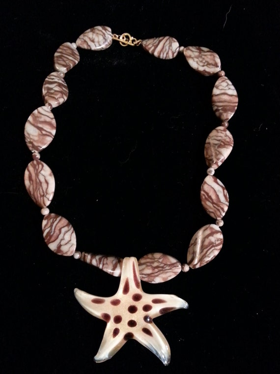 "Sea Star on Sand - 18"" Chocolate Jasper & Lampwork Glass Bead Necklace with Vermeil Clasp"