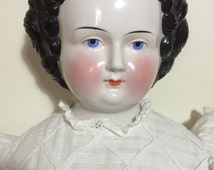 "30.5"" Antique German China Shoulder Head Doll w/ Original Fabulous Body"