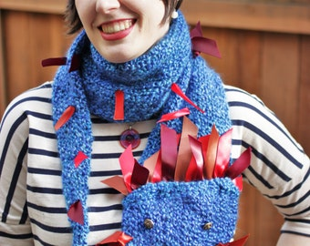 Blue Carnival Dragon Scarf