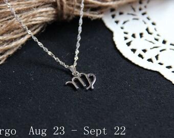 Virgo Constellation Necklace. Virgo Zodiac Necklace. September Birthday. Personalized Zodiac Jewelry. Constellation Pendant Necklace.