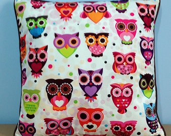 Colorful owl pillow, cute owl decor pillow cover, animal pillow for children
