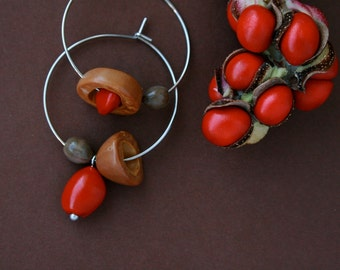 mismatch earrings with orange seeds and nut shell - asymmetrical ethnic hoops - natural jewelry - wood earrings - eco friendly
