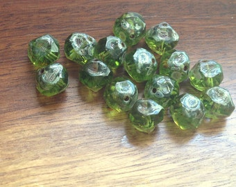 Czech glass beads - central cut beads olive green picasso 10