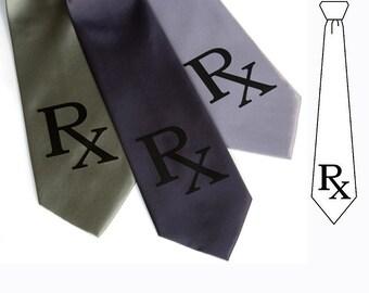 Pharmacist necktie. Rx Prescription tie. Men's silk tie. Black screen print. Pharmacy student gift, doctor gift, medical gift, druggist gift