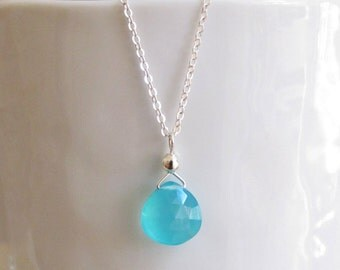 Aqua Chalcedony Necklace Sterling Silver Chain Solitaire DJStrang Carribean Blue Heart Briolette Minimalist Boho Chic