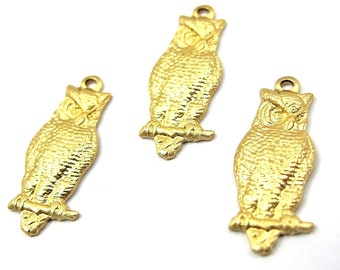 Small Brass Owl Charms (4X) (M585)