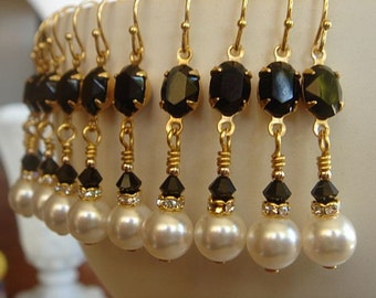Black White Earrings Wedding Jewelry Bridesmaid Gift White Pearl Earrings Gold Earrings Wedding Jewelry