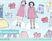 LITTLE GIRL paper doll set - easy for you to customize with your own photos - printable PDF instant download