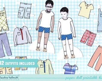 LITTLE BOY paper doll set - easy for you to customize with your own photos - printable PDF -  instant download